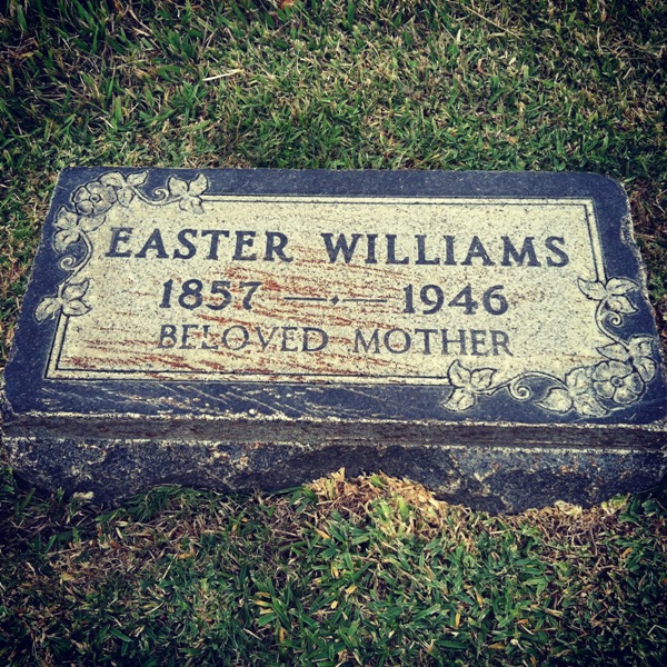 easter williams, born 1857, died september 18, 1946