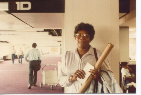 Here's my grandmother, Annie, holding her just received family tree in Memphis International Airport in July 1985.