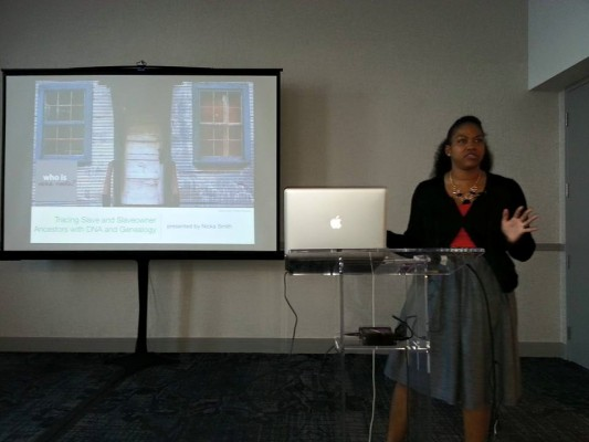 """Me presenting on """"Tracing Slaves and Slaveholders Using Genealogy and DNA."""" Image courtesy Anita Paul."""