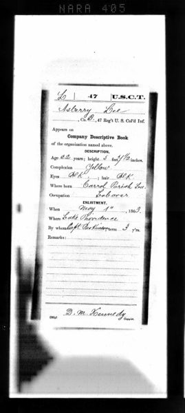 Part of Asberry Lee's Civil War Service Record. Source: Ancestry.com