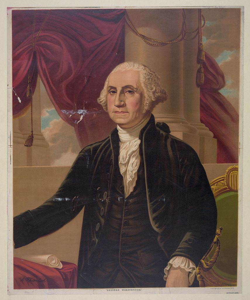 "Weidenbach, Augustus, Artist, and Gilbert Stuart. ""George Washington"" / A. Weidenbach. [1876, ca. 1876] Image. Retrieved from the Library of Congress, https://www.loc.gov/item/2009633671/. (Accessed September 19, 2016.)"