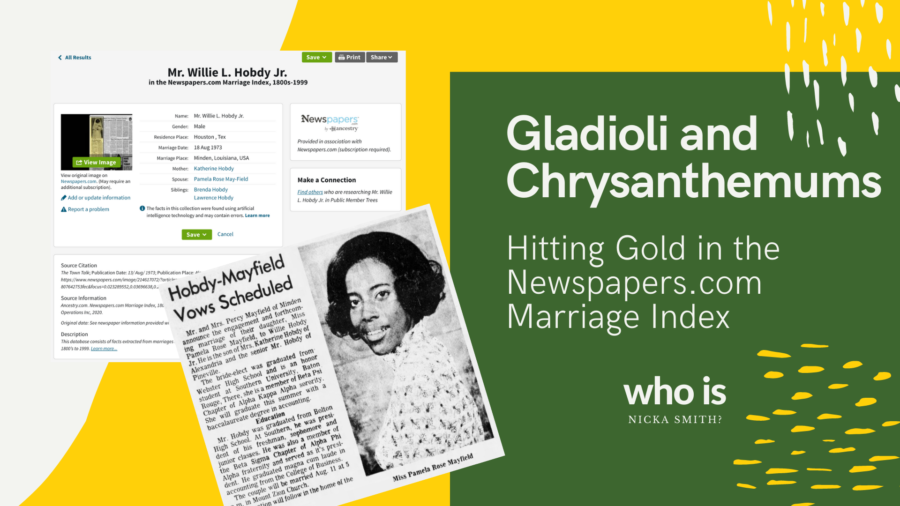 Green and yellow collage with index and newspaper clipping images, Newspapers.com Marriage Index at Ancestry