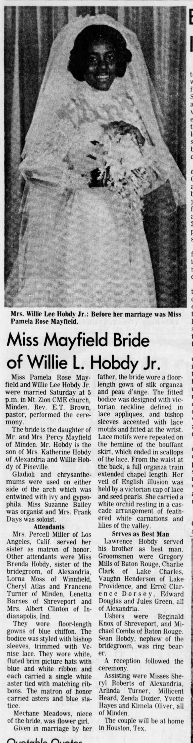 Miss Mayfield Bride of Willie L. Hobdy Jr., The Town Talk (Alexandria, LA), Monday, August 13, 1973, page 18