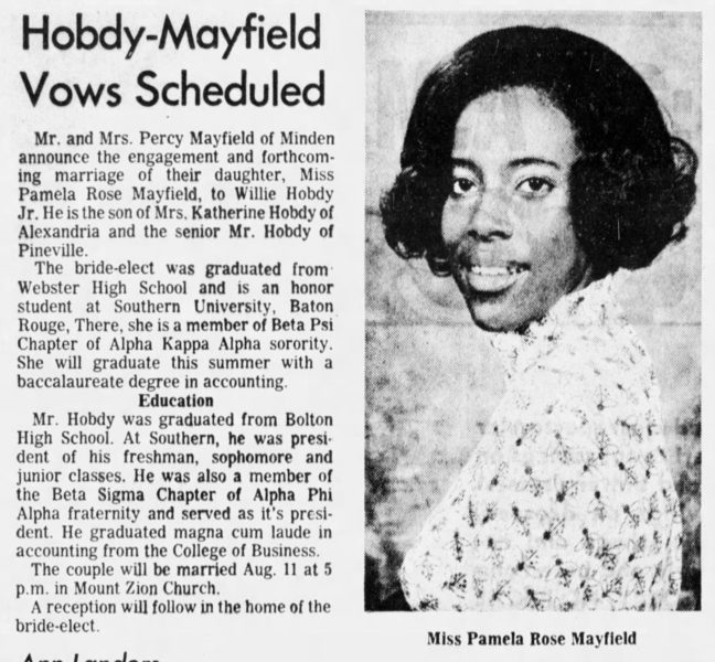 Hobdy-Mayfield Vows Scheduled, The Town Talk (Alexandria, LA), Wednesday, July 4, 1973, page 26