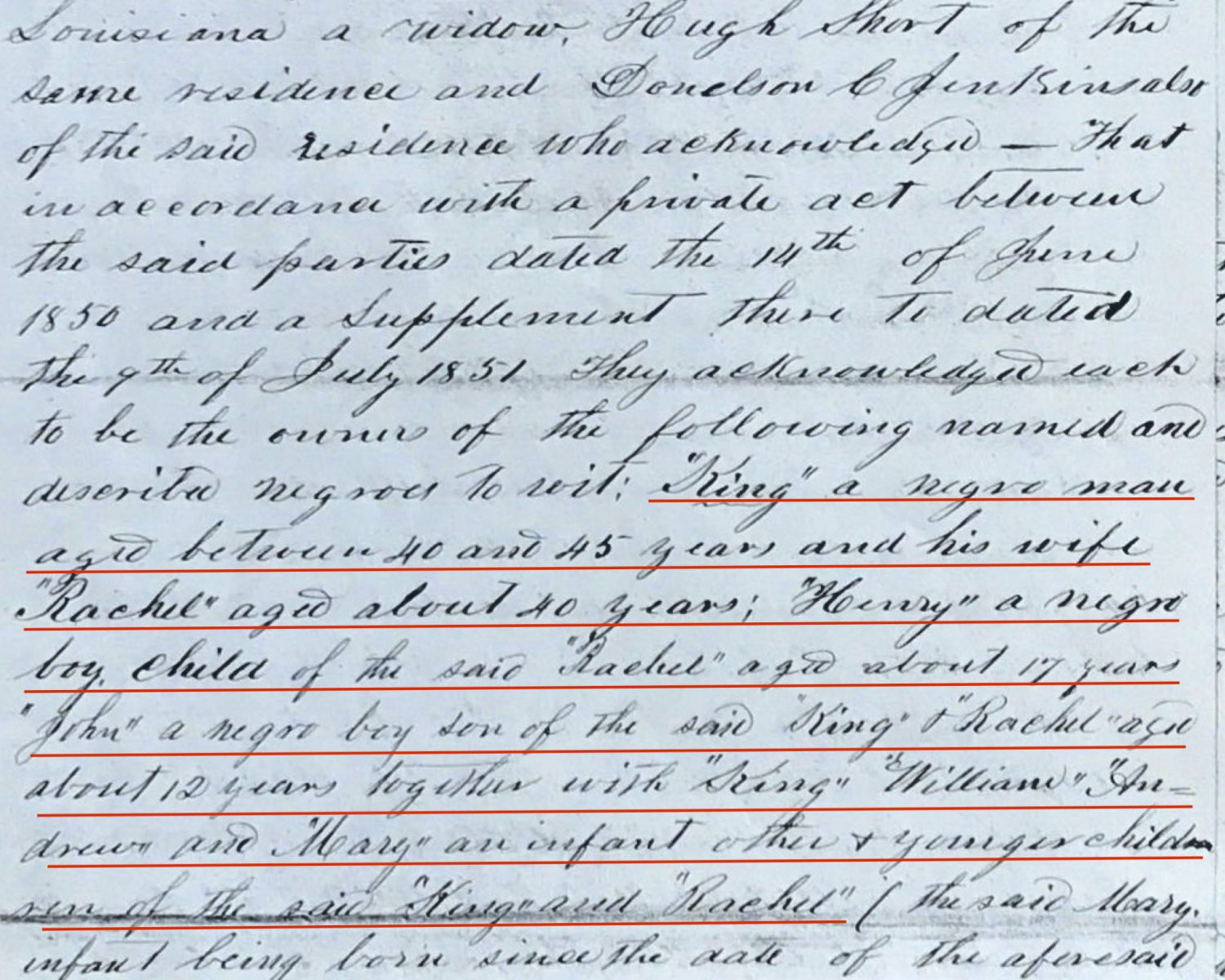 "Portion of the June 14, 1850 agreement between Nancy Caffery Jenkins, Donelson ""D.C."" Jenkins, and Hugh Short Source: Carroll Parish, Louisiana, Deed Book G, page 259. East Carroll Parish Clerk of Court, Lake Providence, Louisiana."